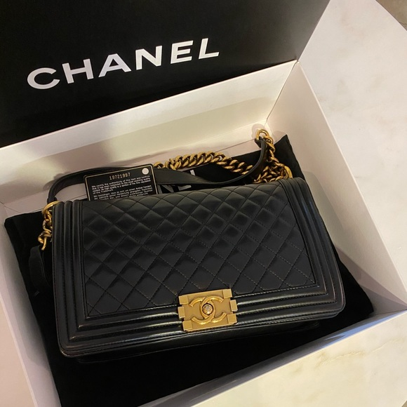 """CHANEL Handbags - Auth CHANEL Black Lambskin GHW """"New"""" Medium Boy"""
